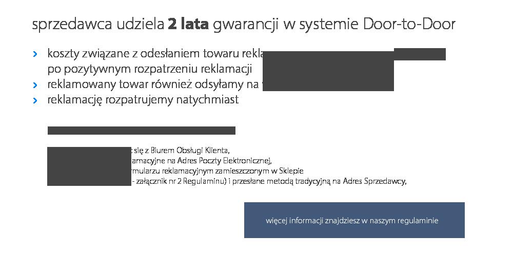 gwarancja sprzedawcy 2 lata w systemie Door-to-Door